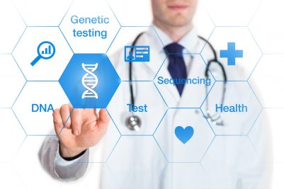 Genetic testing concept, DNA icon, medical doctor, isolated on white